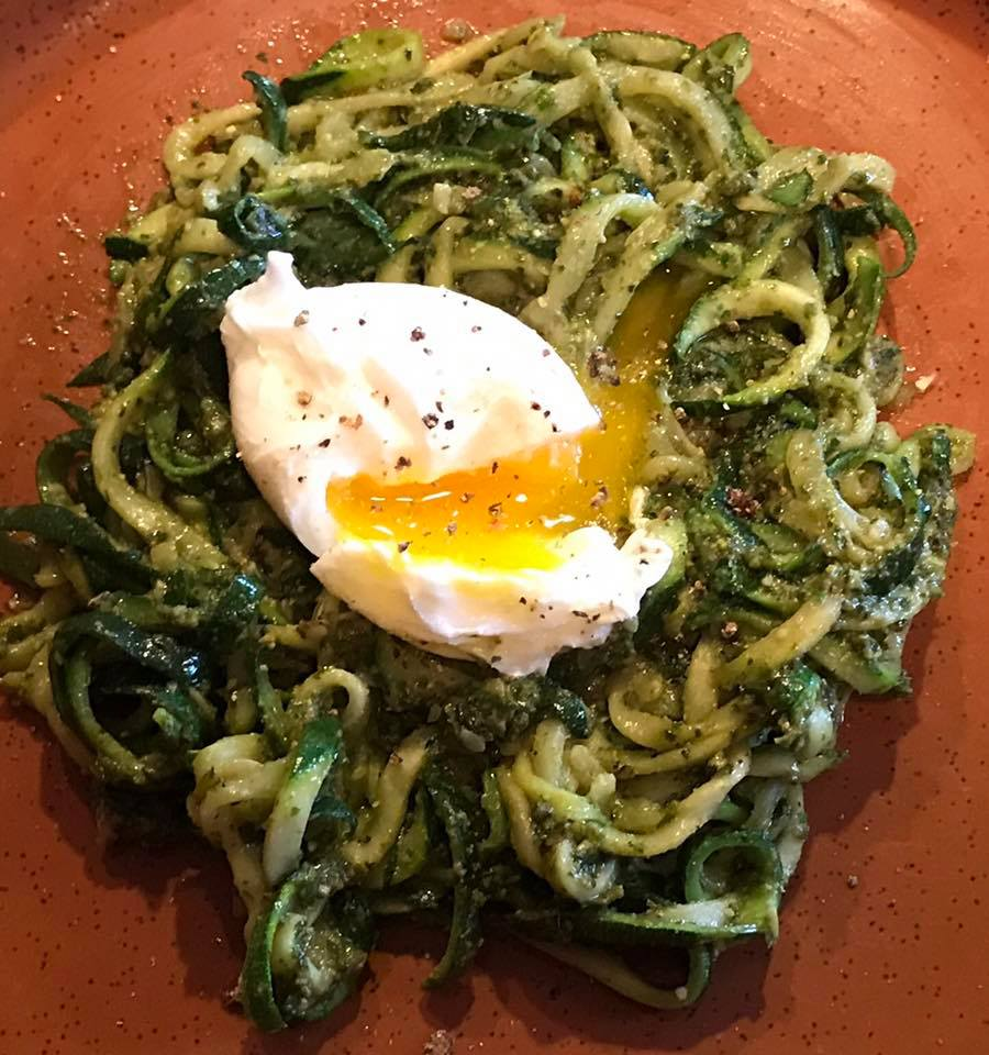 Courgetti with Pesto and Poached Egg