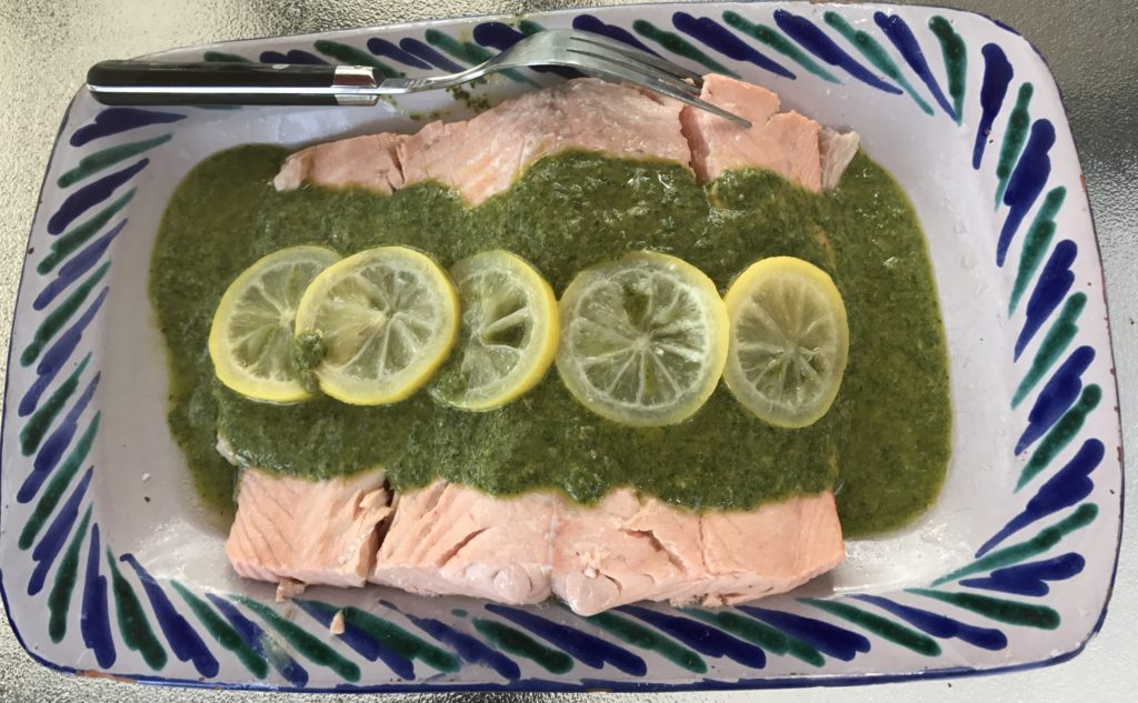 Salmon with Arugala-Caper Sherry Sauce